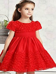 Girl's Casual/Daily Solid DressAcrylic All Seasons Red