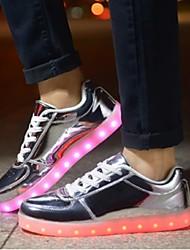 Masculino-Tênis-Conforto Light Up Shoes-Rasteiro-Prateado Dourado-Courino-Casual Para Esporte Festas & Noite
