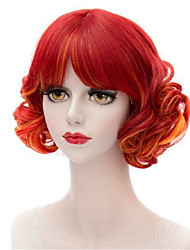 Anime Cos Wig Mix Orange Red Pear Perm Hair Modelling Temperament a Shave
