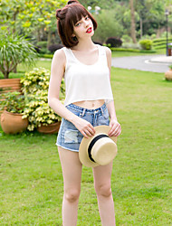 Damen Solide Einfach Lässig/Alltäglich T-shirt,U-Ausschnitt Sommer Ärmellos Weiß Polyester Mittel
