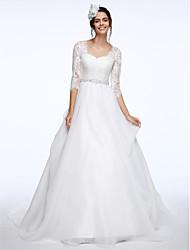 2017 Lanting bride® uma linha de rainha de casamento de trem tribunal vestido de anne laço / organza com apliques / botão