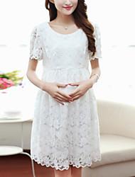Выше колена Материнства платье С короткими рукавами , Кружева
