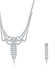 2016 Noble Luxury Imperial Crown Wedding Bridal Silver Zircon Necklace Earrings Party Jewelry Set