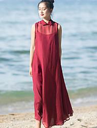 Ample Robe Femme Vacances simple,Couleur Pleine Col de Chemise Mi-long Sans Manches Rouge Polyester Eté Taille Normale Non Elastique Fin