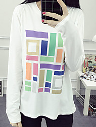Women's Going out Simple Fall T-shirtGeometric Round Neck Long Sleeve Multi-color Cotton Thin