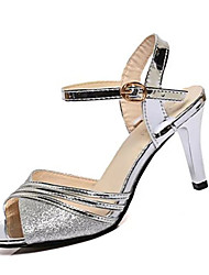 Women's Sandals Summer Sandals PU Casual Stiletto Heel Buckle Silver / Gold Others