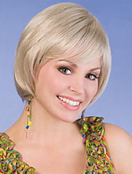 Blonde Color Short Straight European Synthetic Wigs Capless For Afro Women