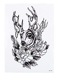 1pc Body Arm Art Temporary Tattoo Sticker Women Men Deer Flower Deer Antler Pendant Picture Design Tattoo HB-340