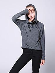 Damen Solide Einfach / Street Schick Ausgehen / Lässig/Alltäglich T-shirt,Mit Kapuze Herbst / Winter Langarm Grau Baumwolle Mittel
