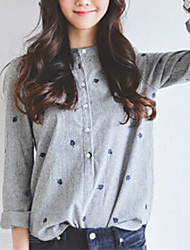 Women's Print Gray Shirt,Crew Neck Long Sleeve