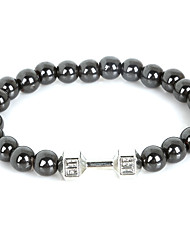 Beadia 1Pc Live Lift Dumbbell Bracelet 8mm Non-Magnetic Hematite Beads Strand Bracelet