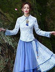 Tee-shirt Aux femmes,Broderie Sortie Chinoiserie Printemps / Automne Manches Longues Col Ras du Cou Bleu Polyester Moyen