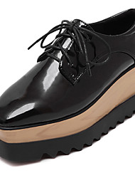 Women's Shoes Four Season Platform Creepers Lace-up Square Toe Patent Leather Black Shoes for Dress/Casual