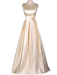 Formal Evening Dress A-line Scoop Floor-length Satin with Flower(s)
