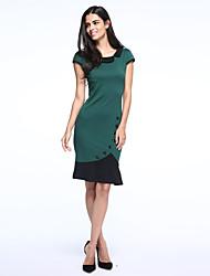 botão tartaruga pescoço de moda costura vestido bodycon projeto fishtail das mulheres
