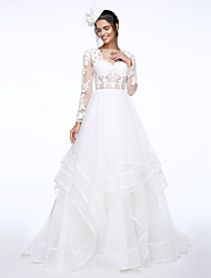A-Line Illusion Neckline Court Train Lace Organza Wedding Dress with Appliques by LAN TING BRIDE®