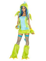 Costumes de Cosplay / Costume de Soirée Animal Fête / Célébration Déguisement Halloween Vert Couleur PleineJupe / Robe / Gants / Plus