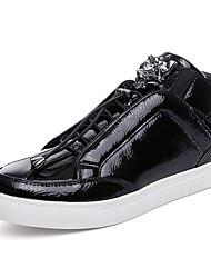 Herren-Sneaker-Lässig-Stoff-Flacher Absatz-Komfort-Schwarz / Silber / Gold