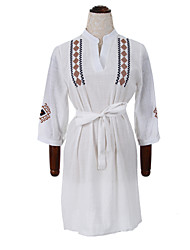 Women's Casual/Daily Chinoiserie Sheath DressEmbroidered Stand Above Knee Long Sleeve White Cotton High Rise