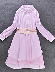 Feminino Camisa Vestido,Casual Simples Patchwork Colarinho de Camisa Altura dos Joelhos Manga Longa Azul / Rosa Poliéster OutonoCintura