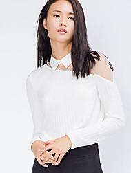 ADEAST Women's  Street chic Fall / Winter ShirtSolid Shirt Collar Long Sleeve White Cotton Medium