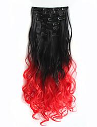clipe 1set na extensão do cabelo 60cm 7pcst postiços naturais clipe sintético corante mergulho direto no cabelo ombre extensions1btred