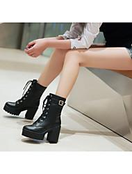 Для женщин Ботинки Армейские ботинки Дерматин Осень Повседневные Армейские ботинки Шнуровка На толстом каблуке Блочная пяткаЧерный Желтый