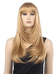 High Quality Low Price Blonde Middle Long Straight With Full Bang Synthetic Wig Hot Sale.