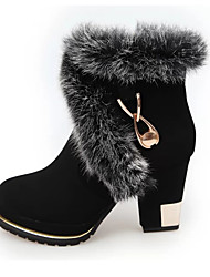 Women's Boots Fall / Winter Snow Boots / Fashion Boots Leather Outdoor / Casual Chunky Heel Zipper