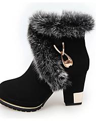 Feminino Botas Botas da Moda Botas de Neve Couro Outono Inverno Casual Caminhada Botas da Moda Botas de Neve Ziper Salto Grosso Preto2,5