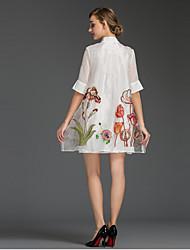 Feminino Solto Vestido,Happy-Hour / Tamanhos Grandes Simples Floral Colarinho Chinês Mini Meia Manga Branco Poliéster Verão Cintura Média