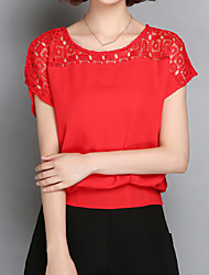 Women's Casual/Daily Simple / Street chic Summer Blouse,Solid Round Neck Short Sleeve Blue / Pink / Red / White / Black Rayon / Polyester