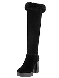 Women's Shoes Chunky Heel Round Toe Platform Rabbit Fur Zip Over The Knee Boot More Color Available