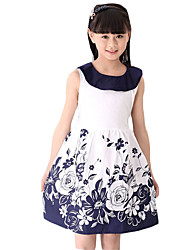 Girl's Going out Floral Dress,Others Summer Blue / Red