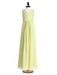 2017 lanting bride® bodenlangen Chiffon / Spitze Junior-Brautjungfer Kleid Mantel / Spalte V-Ausschnitt mit Spitze / Schärpe / Band