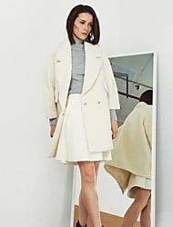 Damen Solide Einfach Ausgehen Mantel,Winter Steigendes Revers ¾-Arm Weiß Mittel Wolle / Acryl / Polyester