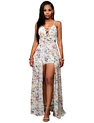 Women's Going out / Casual/Daily Boho Cut Out Chiffion Backless Sheath Dress,Floral Strap Asymmetrical Sleeveless