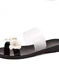 Women's Slippers & Flip-Flops Summer Slippers PVC Casual Flat Heel Flower Black Pink Others