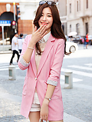 Wake Up® Femme Col en V Manches 3/4 Blazers & Costumes Rose-XZ089