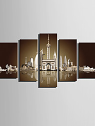 Architektur Leinwand drucken Fünf Panele Fertig zum Aufhängen , Vertikal