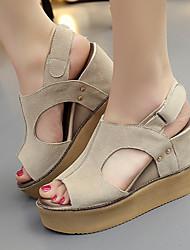 Women's Sandals Summer Wedges / Platform / Sandals / Round Toe Outdoor / Casual Wedge Heel Split Joint/ Beige Others