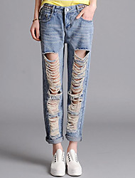 Women's Solid Blue Jeans PantsSimple Spring / Summer