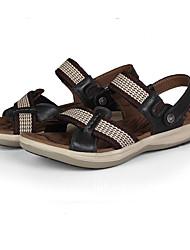 Men's Sandals Summer Sandals / Slippers Leather Outdoor Flat Heel Ribbon