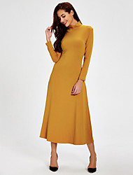Women's Backless Simple Sheath DressSolid Turtleneck Midi Long Sleeve Green / Yellow Cotton Fall Mid Rise Stretchy Thick