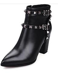 Damen-Stiefel-Outddor-Leder-Blockabsatz-Modische Stiefel-Schwarz / Weiß