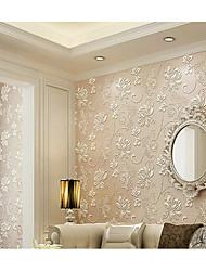 Fleur 3D Fond d'écran pour la maison Contemporain Revêtement , Tissu Non-Tissé Matériel adhésif requis fond d'écran , Couvre Mur Chambre