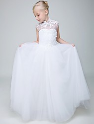 Ball Gown Ankle Length Flower Girl Dress - Tulle Sleeveless High Neck with Beading by XMF