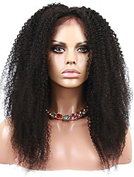 "Natural Color Brazilian Virgin Human Hair Afro Kinky Curly Wig Lace Front Wigs 8""-12"""