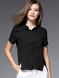 AJIDUO® Feminino Colarinho Chinês Manga Curta Shirt & Blusa Preta / Branco-A9392