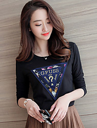 Women's Going out / Work / Holiday Simple / Sophisticated Spring / Fall T-shirtSolid Round Neck Long